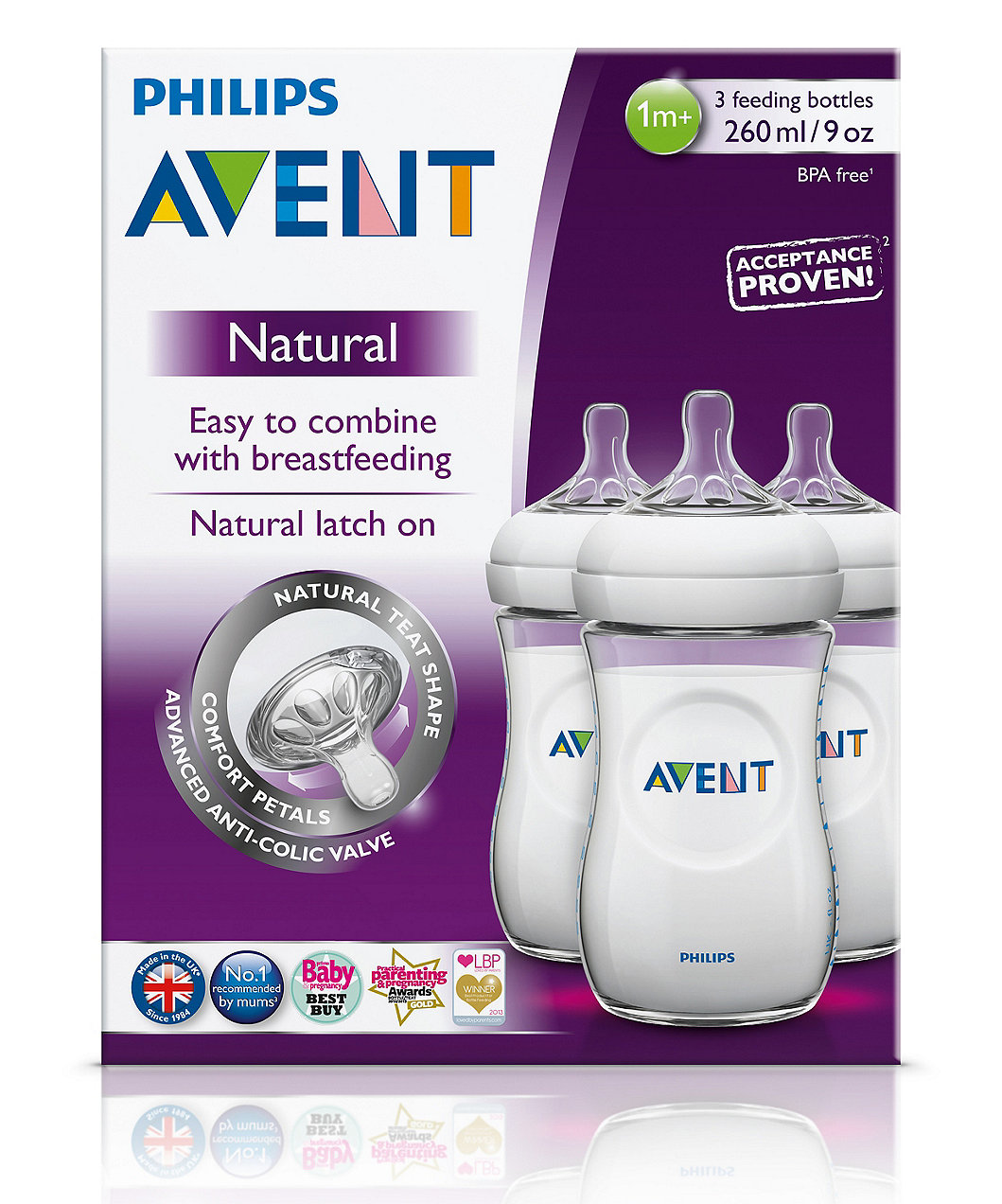 Philips Avent Natural Bottle 9oz 260ml 3 Pack