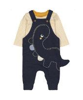 條紋包屁衣+恐龍吊帶褲套裝 (3-24個月)