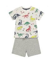 繽紛恐龍短袖T恤+短褲套裝 (9個月-5歲)