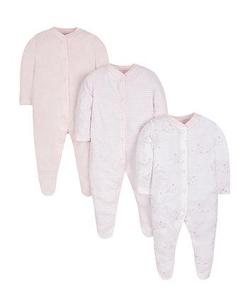 Рожеві комбінезони для сну - 3 шт