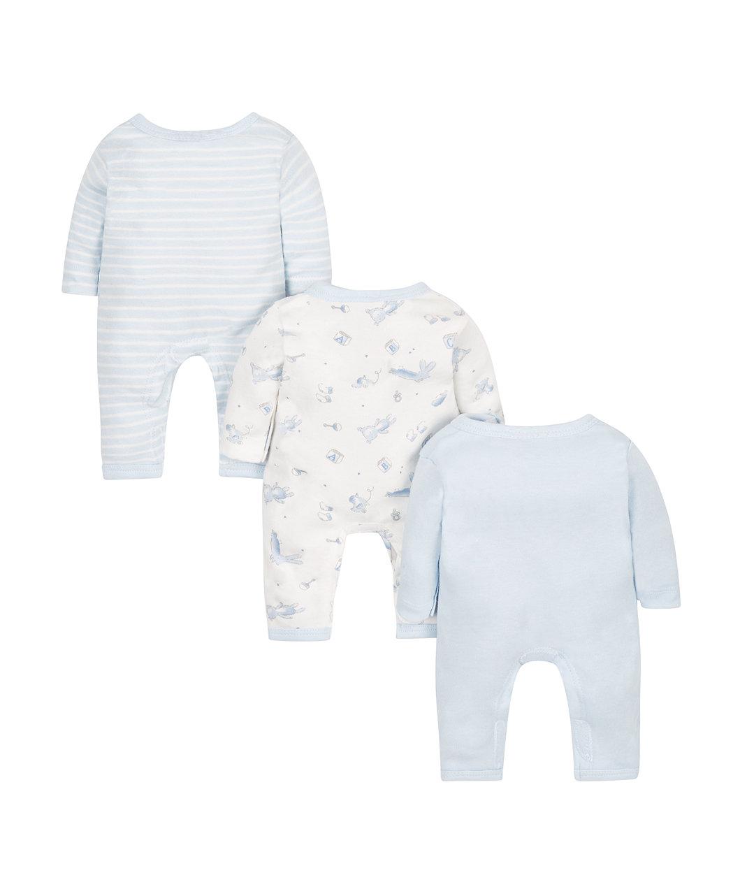 ec67d00f5 blue premature sleepsuits - 3 pack