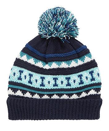 Блакитна флісова шапка з пом-помом