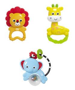 baby safari rattle gift set