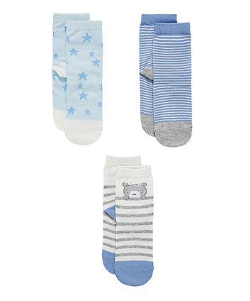 Шкарпетки з ведмедиком, зірочками та смужками my first  - 3 пари