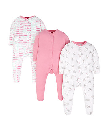 heart sleepsuits - 3 pack