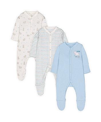 little bear cub sleepsuits - 3 pack