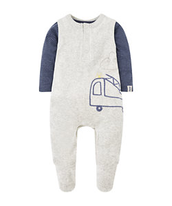 fire truck velour dungarees and bodysuit set