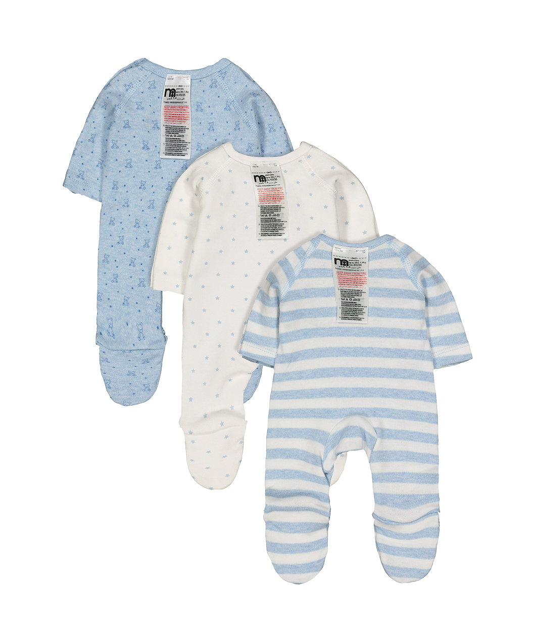 7ff4c61b4 blue premature baby sleepsuits - 3 pack