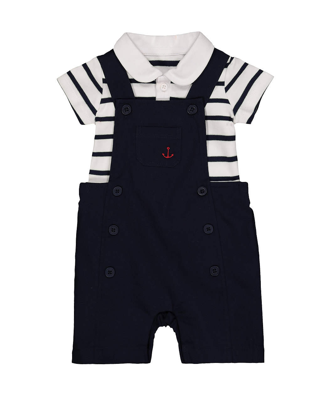 Mothercare Baby Boys Anchor Navy Bibshorts and Stripe Bodysuit Set