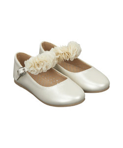 cream flower ballerina shoes