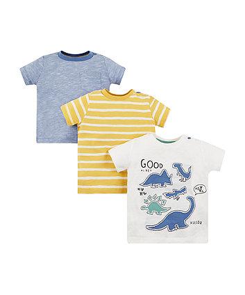 Dinosaur and stripe t-shirts - 3 pack