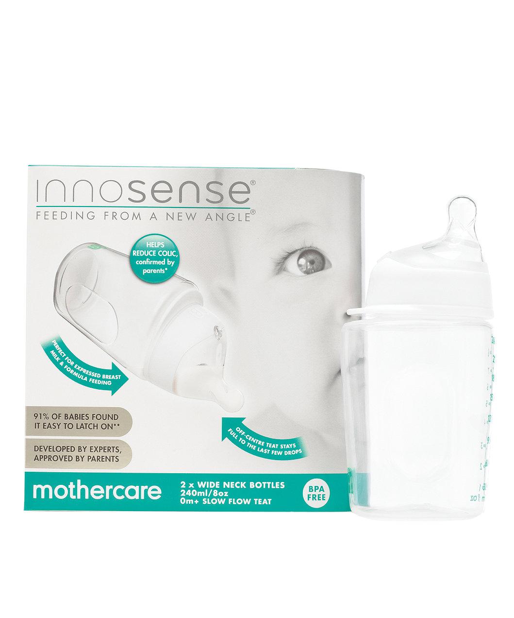 Innosense® Wide Neck Bottle 240ml/8oz 2pk with Slow Flow Teat